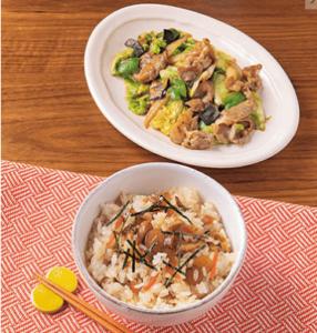 カットミール木曜日のメニュー 鶏五目混ぜご飯