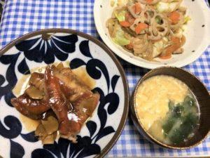 「赤魚の煮つけ」「鶏肉とレンコンのシャキシャキ炒め」「かき玉みそ汁」3品の完成