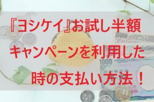『ヨシケイ』お試し半額キャンペーンを利用した時の支払い方法
