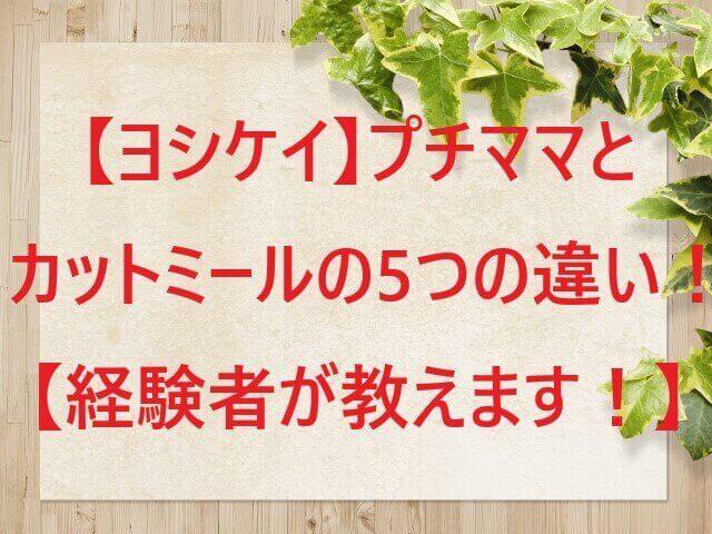 【ヨシケイ】プチママとカットミールの5つの違い!経験者が教えます!