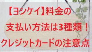 【ヨシケイ】料金の支払い方法は3種類!クレジットカードの注意点!