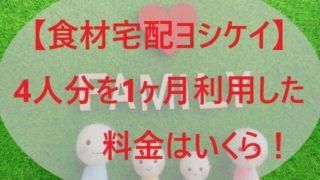 【ヨシケイ】4人分を1ヶ月利用した料金はいくら!全メニュー比較!