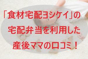 ヨシケイの宅配弁当を利用した産後ママの口コミ